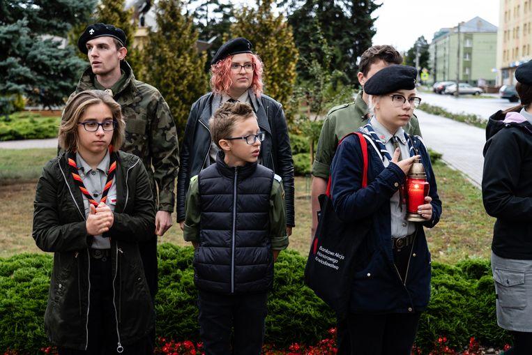 De lokale scouting en poitici herdenken de binnenkomst van de Russen in Polen van 1939.  Beeld Piotr Malecki