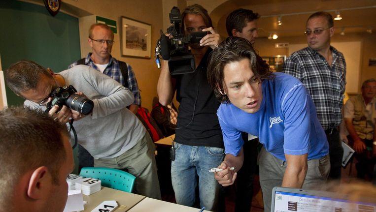 Thomas Dekker bij een race in Sint Niklaas in 2011 bij zijn terugkeer na een dopingschorsing Beeld anp