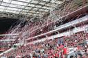 Een sfeervolle tribune tijdens een oefenduel van PSV. Beelden als deze gaan we voorlopig niet meer zien.