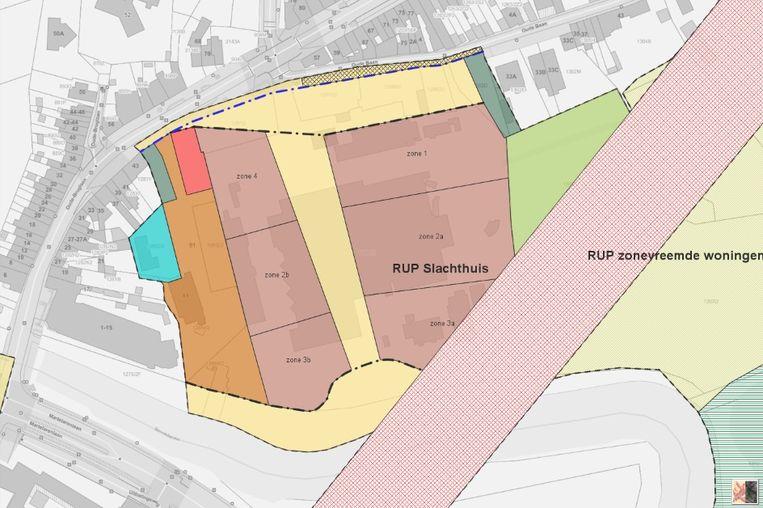 Het RUP van de slachthuissite voorziet in flink wat openbare ruimte (geel ingekleurd gebied).