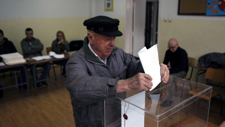 Een stembureau in Belgrado vandaag. Beeld ap