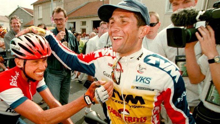 Jeroen Blijlevens na zijn etappezege in de Tour van 1998. Beeld anp