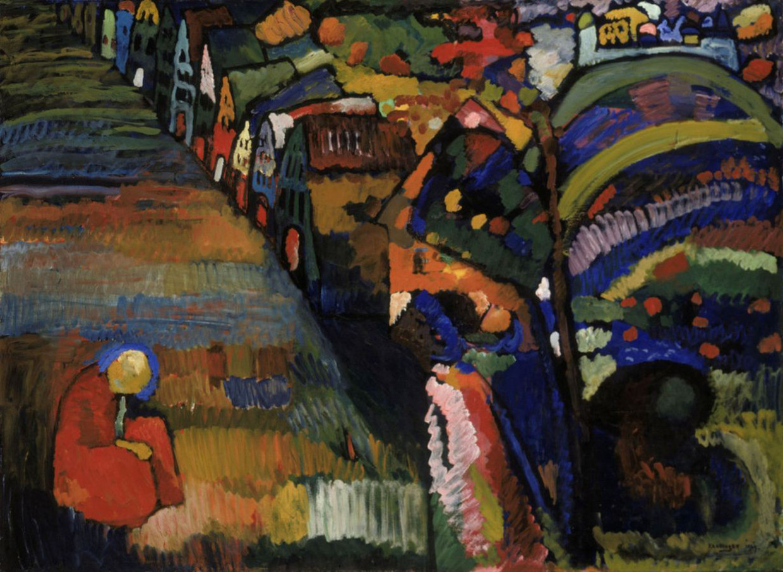 Het schilderij Bild mit Häusern van de familie Lewenstein werd in 1940 op een veiling gekocht door het Stedelijk Museum.  Beeld Wassily Kandinsky