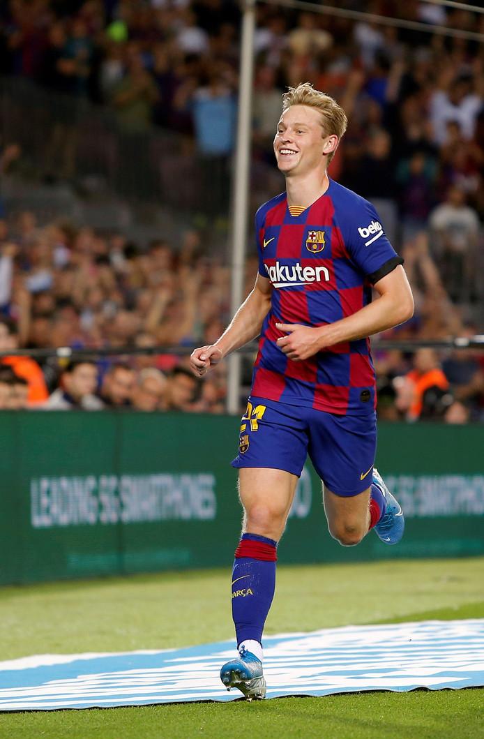 Frenkie de Jong maakte dit weekend zijn eerste goal in het shirt van Barcelona.