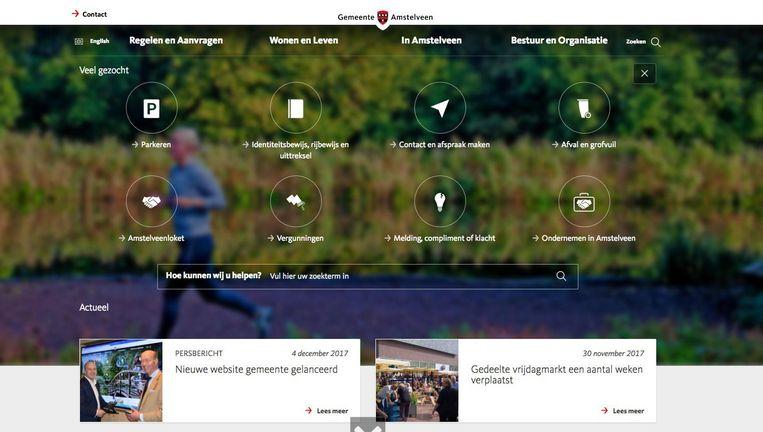 Maandag lanceerde de gemeente Amstelveen een nieuwe website. Beeld Screenshot