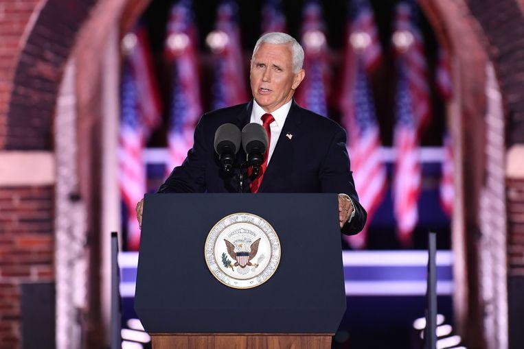 Mike Pence tijdens zijn toespraak. Beeld EPA