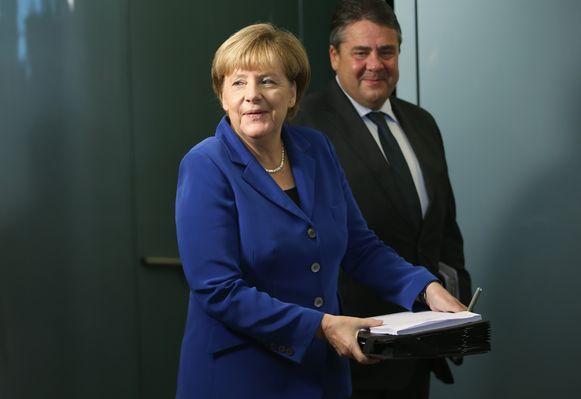 Angela Merkel en haar vicekanselier Sigmar Gabriel.