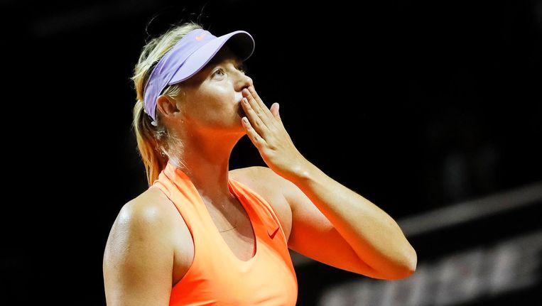 Maria Sjarapova speelde in Stuttgart haar eerste toernooi na haar dopingschorsing. Beeld epa