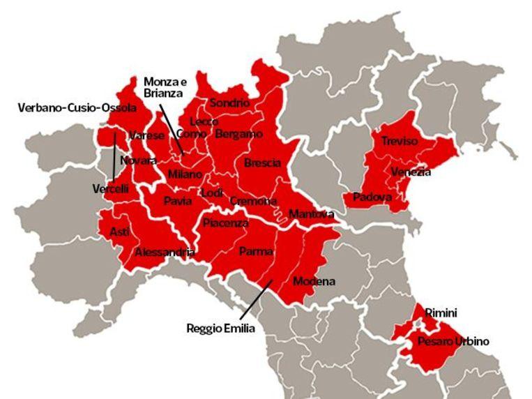 Heel de regio Lombardije, met daarin steden als Milaan en Bergamo, is tot zeker 3 april afgesloten. Hetzelfde geldt voor nog eens veertien andere provincies in het noorden, waaronder die rondom grote steden zoals Modena, Parma, Rimini, Venetië, Padova, Piacenza en Treviso. Beeld