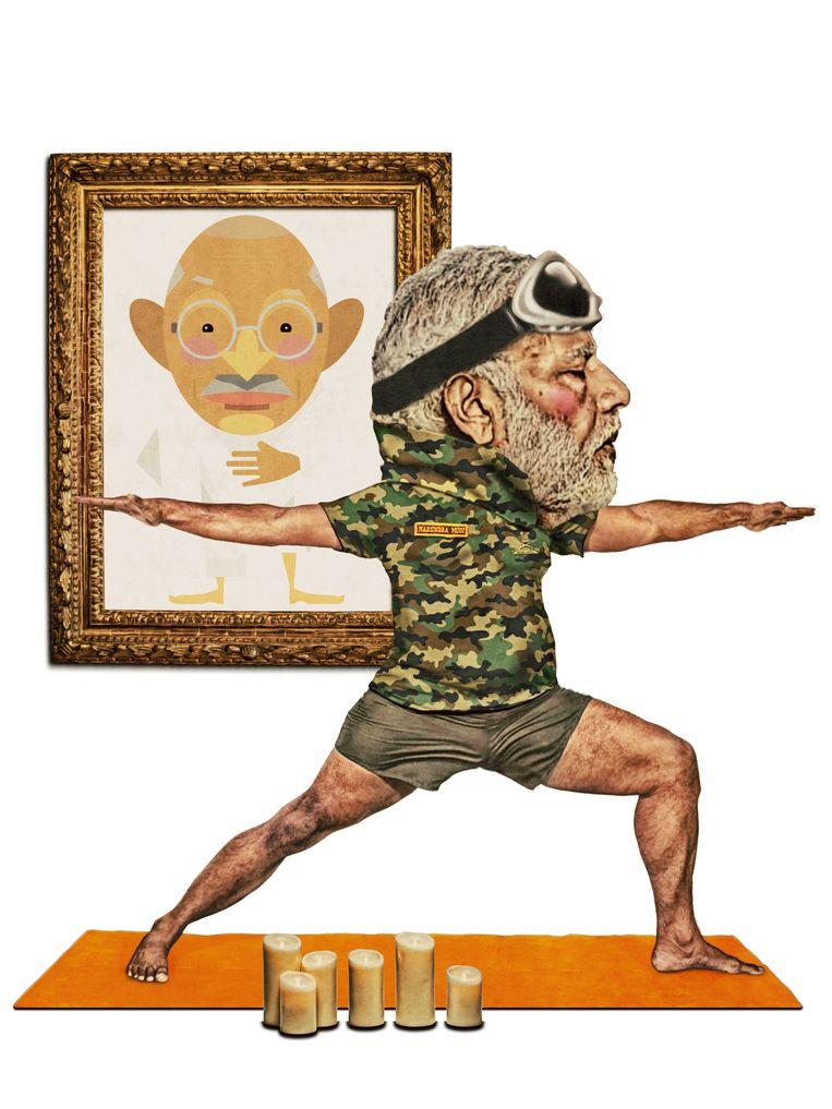Volkskrant Zaterdag / Op het Tweede Gezicht - De Krijger is de favoriete yogapositie van de Indiase premier Narenda Modi Beeld Javier Muñoz
