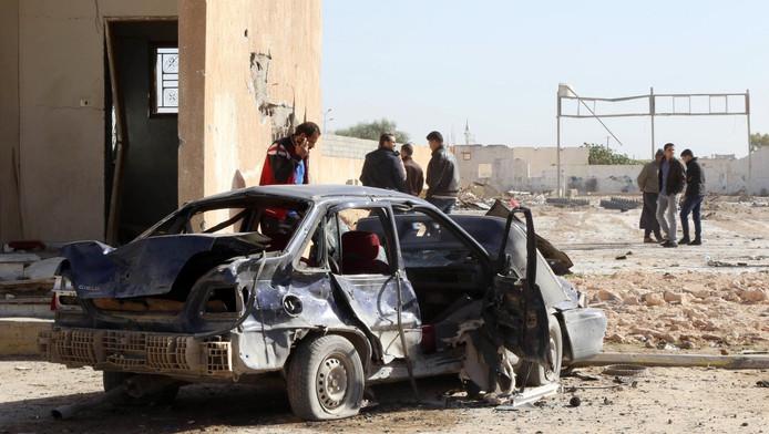 Libiërs bij de politieschool in Zliten, 170 kilometer ten oosten van hoofdstad Tripoli