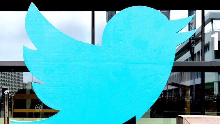 Het logo van Twitter in Amsterdam. Beeld ANP