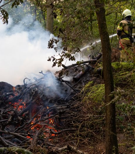 Snoeiafval vliegt in brand in het bos bij Vught