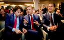 Jesse Klaver (GroenLinks) naast Sybrand Buma (CDA) en Lodewijk Asscher (PvdA) vorig jaar tijdens het Radio 1-verkiezingsdebat