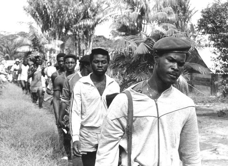 Brunswijk in 1986, toen hij als leider van het Jungle Commando het gewapende verzet leidde tegen het militaire regime van Desi Bouterse. Beeld ANP/Cor Speksnijder
