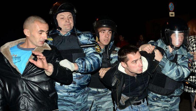 Russische politie gisteren in het zuidelijke district Birioeliovo. Beeld afp