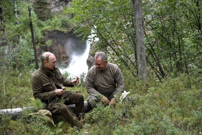 Poetin bekijkt samen met zijn defensieminister een paddenstoel.