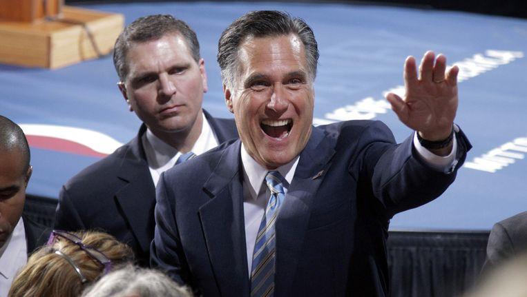 Mitt Romney tijdens zijn overwinningsspeech in New Hampshire Beeld ap