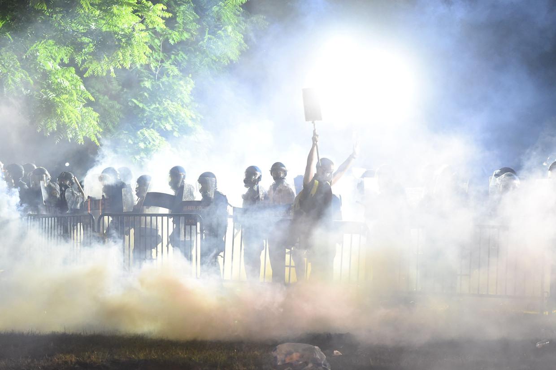 Demonstranten bij het Witte Huis in Washington.
