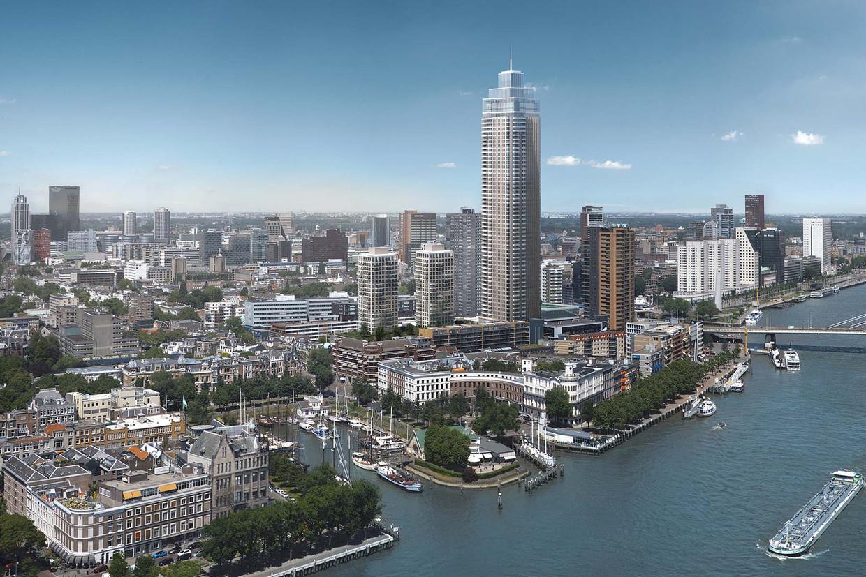 Impressie van de Zalmhaventoren. De toren aan de voet van de Erasmusbrug wordt 215 meter hoog en wordt in 2022 opgeleverd.