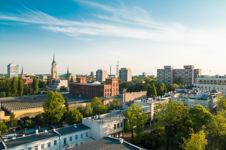 Gezicht op Lodz, de voormalige textielstad in het midden van Polen. Beeld Getty Images/iStockphoto