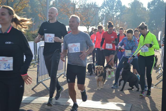 De honden starten met hun baasjes voor de vijf kilometer Big Run.