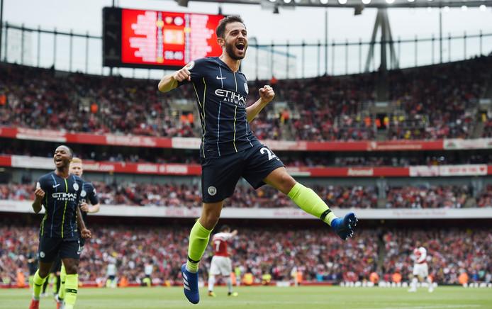Bernardo Silva juicht na zijn 0-2 voor Manchester City tegen Arsenal.
