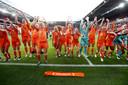 Feest in Eindhoven, waar 35.000 supporters op 1 juni de Leeuwinnen kwamen uitzwaaien voor vertrek naar Frankrijk.