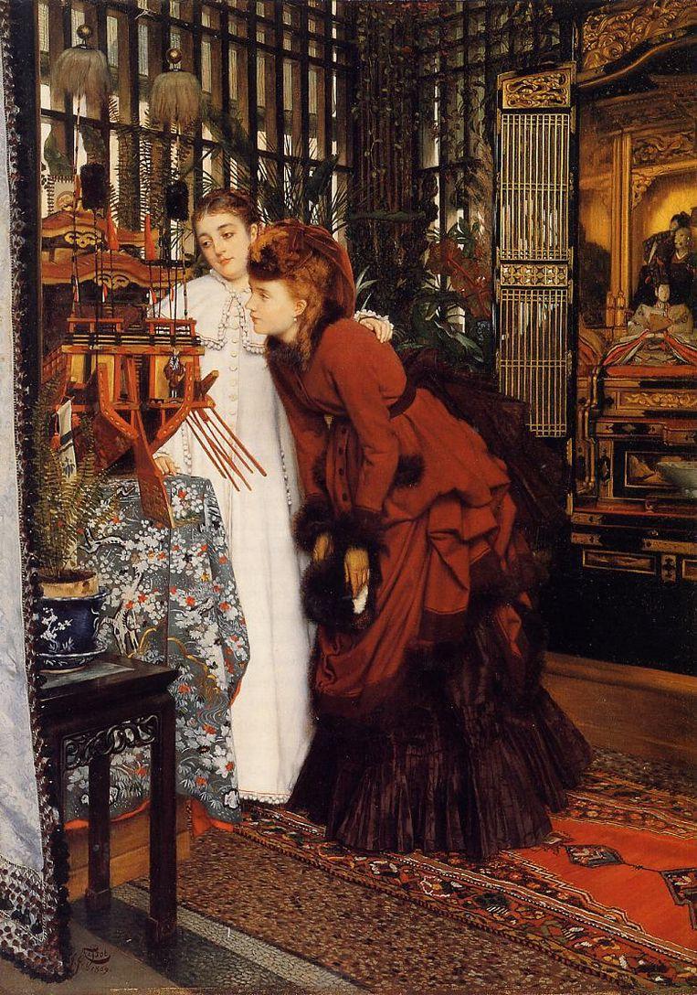 James Tissot, Young Ladies Looking at Japanese Objects 1869, Cincinatti Art Museum Beeld Cincinatti Art Museum