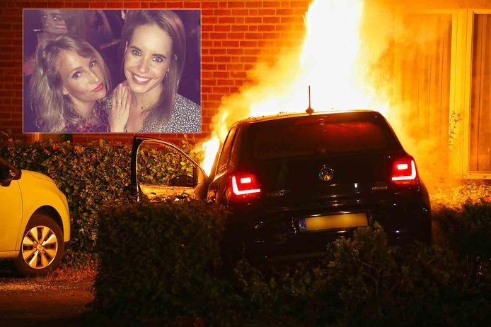 Ilone en Sharon de Knegt uit Oss (inzet) redden een Osse bestuurder uit zijn auto, die niet veel later in vlammen opging.