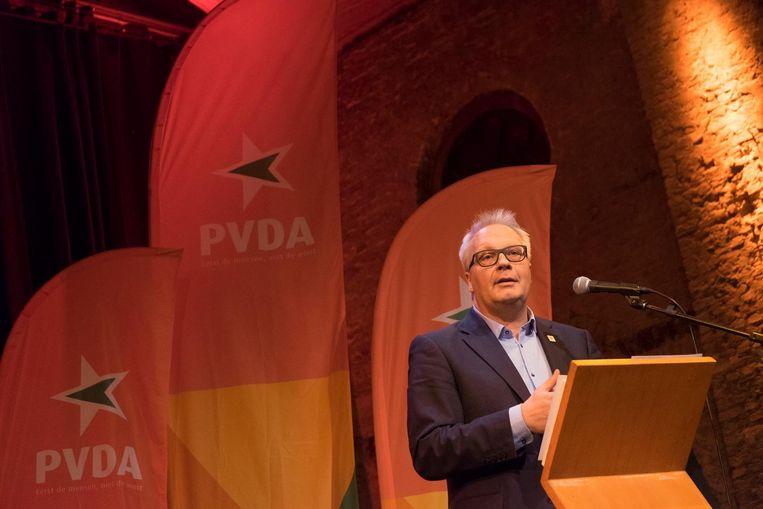 Peter Mertens op het PVDA-congres zaterdag in het Zuiderpershuis.
