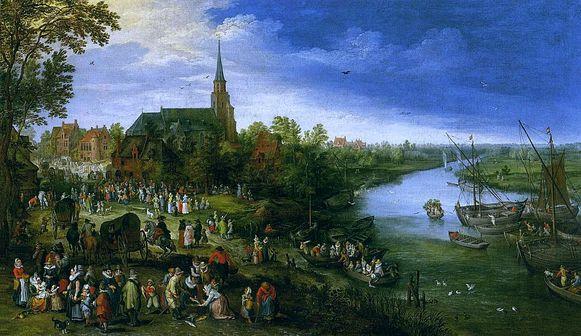 Het schilderij van Jan Brueghel dat Schelle afbeeldt als waterdorp.