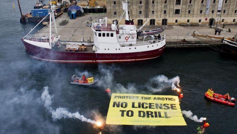 Greenpeace protesteert in Kopenhagen tegen olieboringen in de poolgebieden Beeld EPA