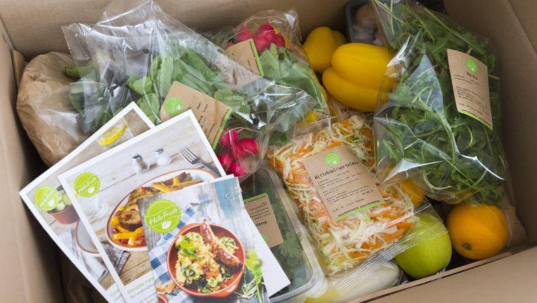 De HelloFresh box met verss producten. In deze HelloFresh box zitten de ingrediënten voor vijf maaltijden. Beeld null