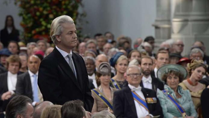 Geert Wilders in de Nieuwe Kerk tijdens de inhuldiging van Koning Willem-Alexander