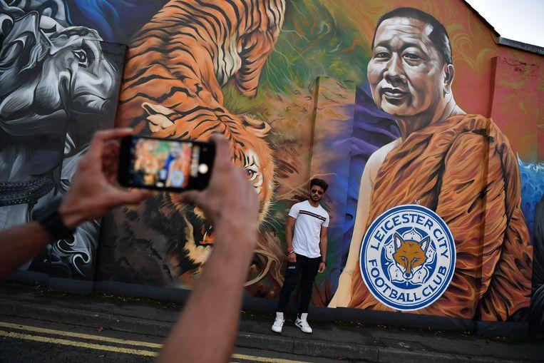 Een muurschildering nabij de Montfort University in Leicester toont Vichai Srivaddhanaprabha.