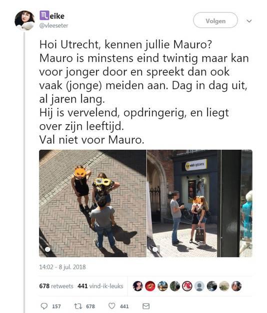 Screenshot van de tweet over Mauro. Hierbij is zijn gezicht geblurd.