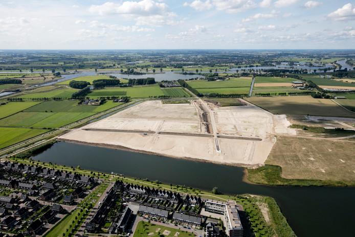 Luchtfoto van de Groote Wielen met de buurt De Lanen die nu in ontwikkeling komt.