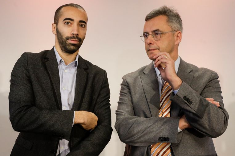 Mahdi (links) ging gisteren in debat met Joachim Coens, de andere kandidaat-voorzitter van CD&V.