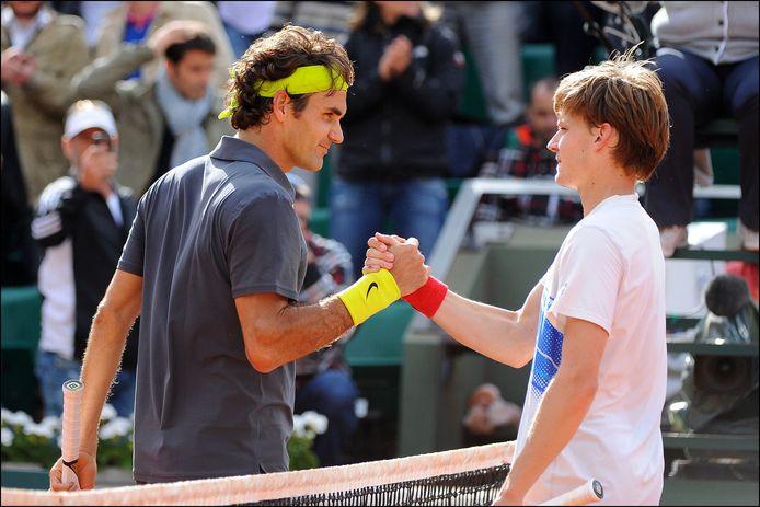 David Goffin a 21 ans quand il croise, pour la première fois, la route de son idole Roger Federer, sur le central de Roland-Garros.