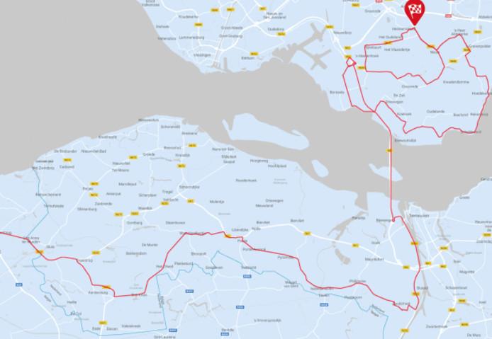 De route van de eerste etappe van vandaag. Bij Heinkenszand wordt de kleine ronde drie keer gereden.
