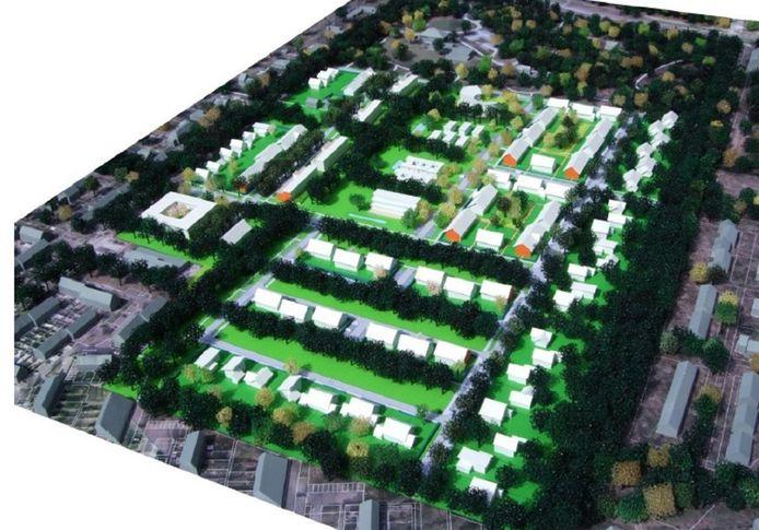 Impressie van hoe de nieuwe woonwijk Oude Tempel eruit zou kunnen zien.