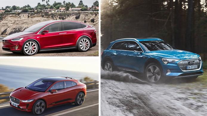 De Tesla Model X (boven), de Audi e-tron (rechts) en de Jaguar I-Pace (onder)