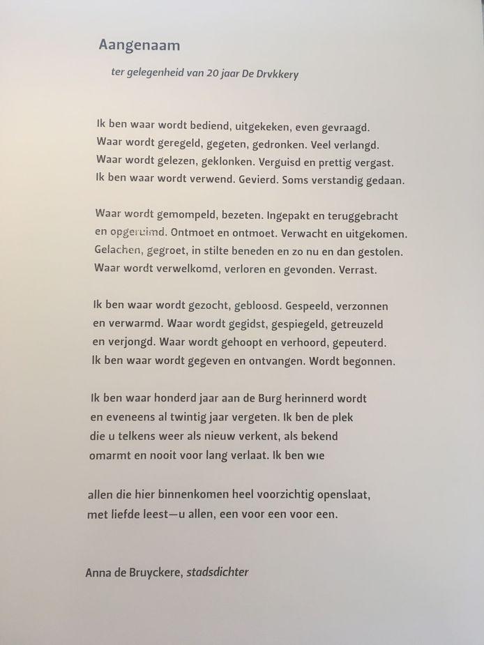 Het gedicht van Anna de Bruyckere waar ophef over is ontstaan.