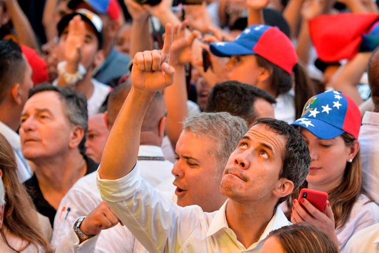 Juan Guaidó tijdens het 'Venezuela Aid Live' concert. Beeld AFP