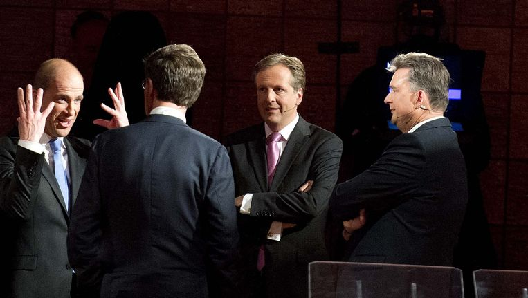 (VLNR) Diederik Samsom (PvdA), Mark Rutte (VVD) Alexander Pechtold (D66) Beeld ANP
