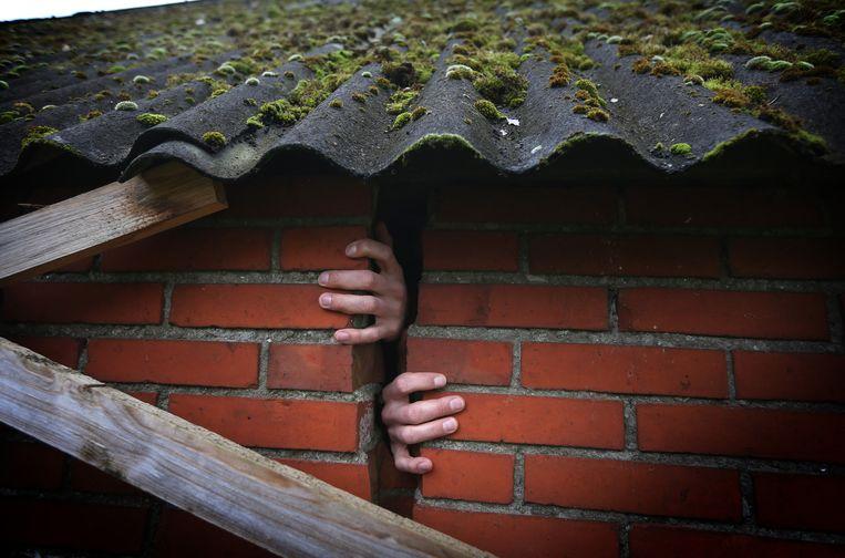 Schade aan een woning in Bedum, Groningen. Beeld null
