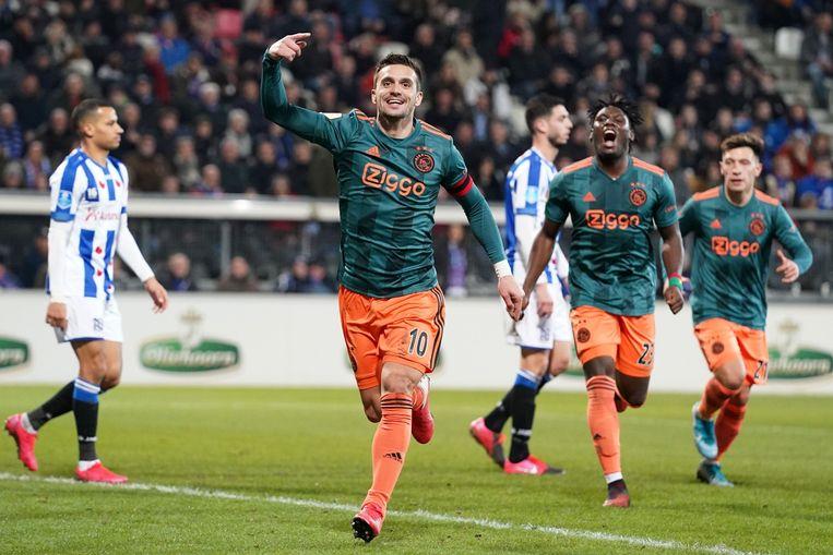 De Eredivisiewedstrijd SC Heerenveen - Ajax in maart. Beeld ANP Sport