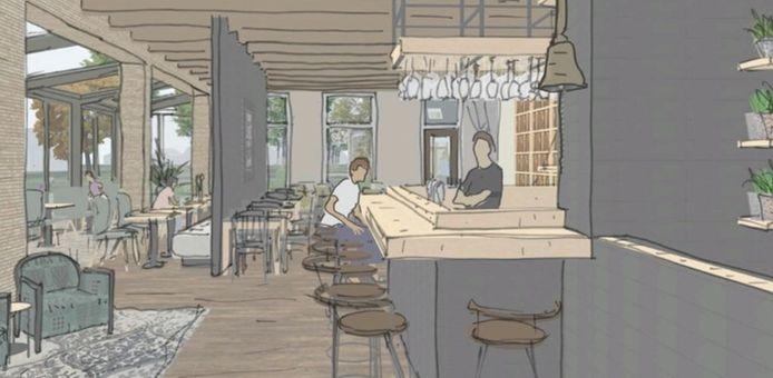De schets van het nieuw te bouwen dorpscafé in Lierderholthuis