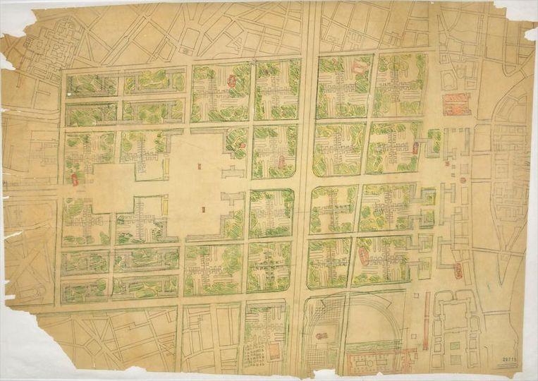 Maquette van ditzelfde plan. Daarnaast: een voorstudie naar wooneenheden (1944). Beeld  FLC/ADAGP